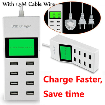 Universal 8 USB Ports Led Display US EU UK Plug Charger Adapter Power Strip Adapter Socket Smart Charger For xiaomi
