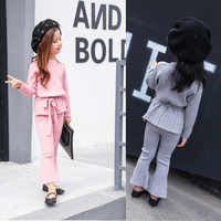 2018 children girl clothes fashion stretch knitted baby girl set for girls kids causal 2pcs Sweater pants girl clothing sets
