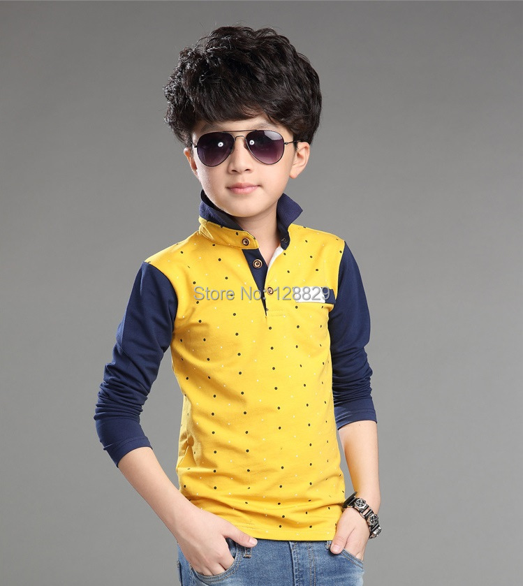 T Shirt For Boys Autumn Cotton Casual Children Clothing Cute Polka ...