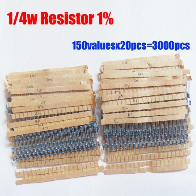 1/4W 0.25W Color Ring 150valuesX20pcs=3000pcs Resistor Kit 0R~10M Resistor Pack