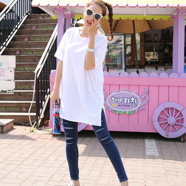 2016 Primavera e no Verão das Mulheres Plus Size Solto projeto Longo Assimétrico T-shirt de Algodão feminino Curto-luva T-shirts para mulheres