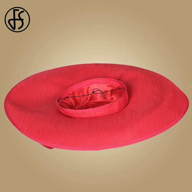Sombreros de boda de las señoras Rojas reales de FS sombreros de las mujeres negras grandes del ala grande del sombrero de fiesta de la iglesia del Derby de Kentucky - 6