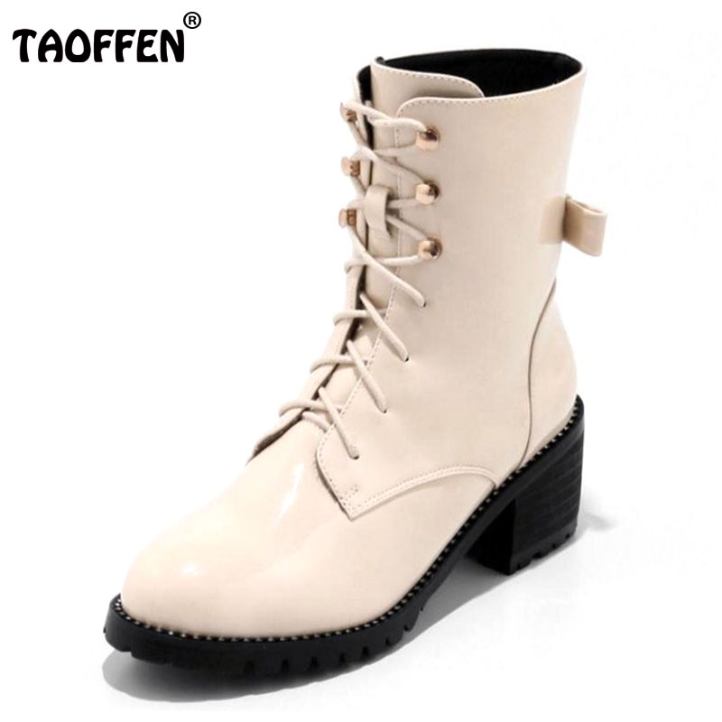 TAOFFEN Plus Size 32-48 Ladies Winter Boots For Women Thick Fur Inside Med Calf Warm Boots Women Thick Heel Lace Up Rome Botas velvet thick keep warm winter hat for women rabbit fur knitted beanies ladies female fashion skullies elegant hats for women