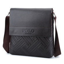 Fashion TOP Leather Men messenger bags Cover closure Business briefcase male crossbody bags Man shoulder bags handbag POLO