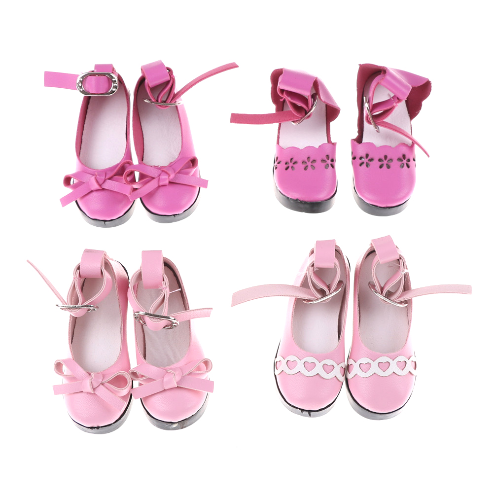 1 Pair Handmade Leather High Heel Shoes with bow tie Sandals Single Shoes For 18 Girl Journey Doll Clothes  Accessories