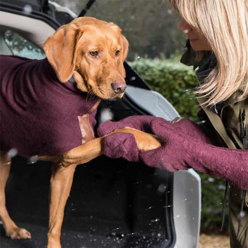 超吸収マイクロファイバー入浴ブラシグルーミングマッサージ櫛ペットの犬のクリーニングタオルグローブ乾燥犬馬足毛皮