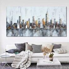 2016 Нью-Йорка Городской Архитектуры Аннотация Wall Art Handmade Картина Маслом на Холсте Главная Украшение Номера