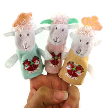 3Pcs Cartoon Animal Sheep Finger Puppets Theater Show Soft Dolls Kids Toys Gift M09(China)