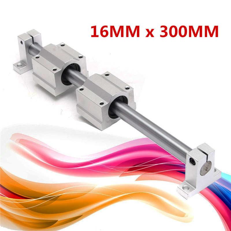 16mmx300MM Linear Rail Shaft Bearing Block Guide Optical Axis Bracket Slider  цены