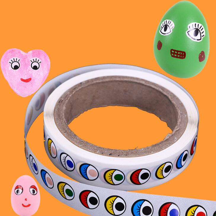 Eye Stickers With Glue Black And White Coloured Eye Sticking Children's Manual DIY Activities Material BS95