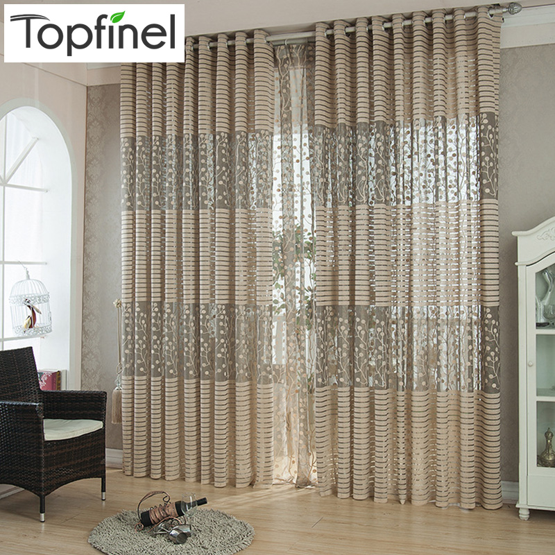 Top Finel Strip Modern Luxury Window Curtains For Living Room Kitchen Sheer Curtain Panels