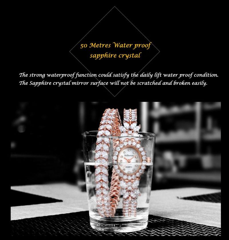 16 50M Waterproof Selberan Gold/Silver Natural Zircon Wrist Watch for Women Luxury Ladies Bracelet Watch Montre Femme Strass 7