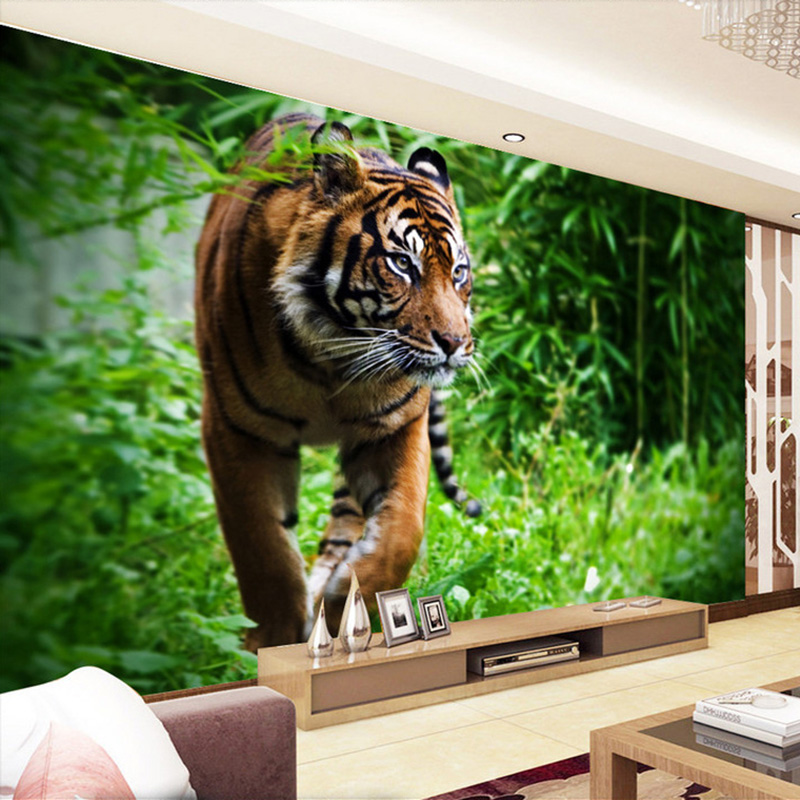 Custom Photo Wall Paper 3D Tiger Living Room TV Background Wall Mural Large Wall Painting Non-woven Wallpaper For Bedroom Walls custom photo wallpaper high quality wallpaper personality style retro british letters large mural wall paper for living room