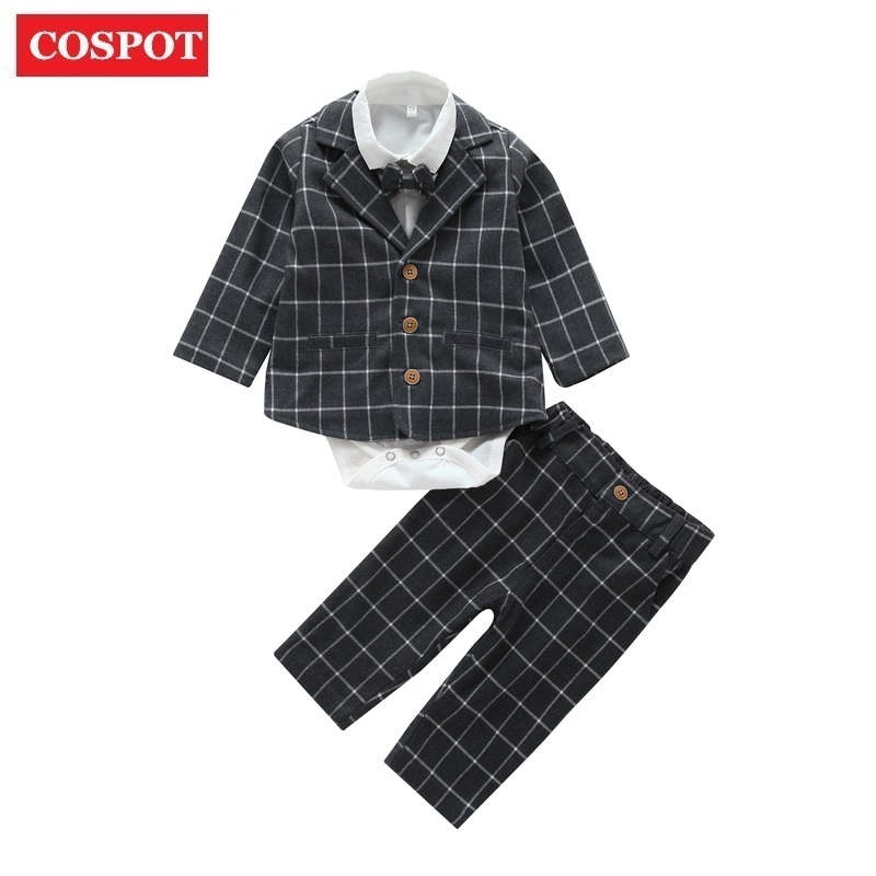 Cospot Baby Boys Clothing Set Newborn 4Pcs Set Suit+shirt+Pants +Tie Boys Outfit Coat Newborn Kids Clothes Sets Rush 25