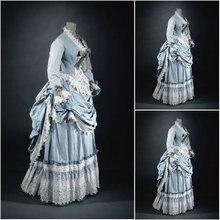 2017 new!Customer-made Blue Vintage Costumes Victorian Dresses Scarlett Civil War dress Cosplay Lolita dresses US4-36 C-1101