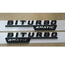 """Flat Black """"BITURBO 4 MATIC"""" de plástico para el maletero del coche Fender letras emblema etiqueta adhesiva para Mercedes Benz AMG 17-19"""