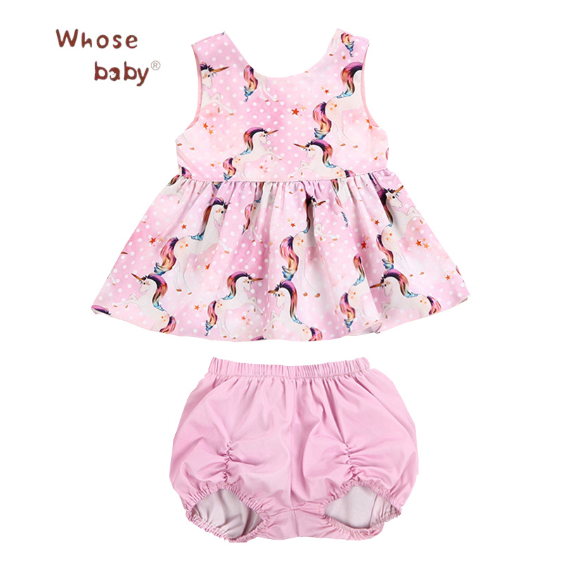 2Pcs Baby Clothing Sets Unicorn Dress for Girls Summer Outfit+Short Infant Newborn Clothes Set 2018 Kids Costumes For Children kids dress set for girls dress shirts 2pcs sets clothes set for big teenager clothing girls princess dress h92