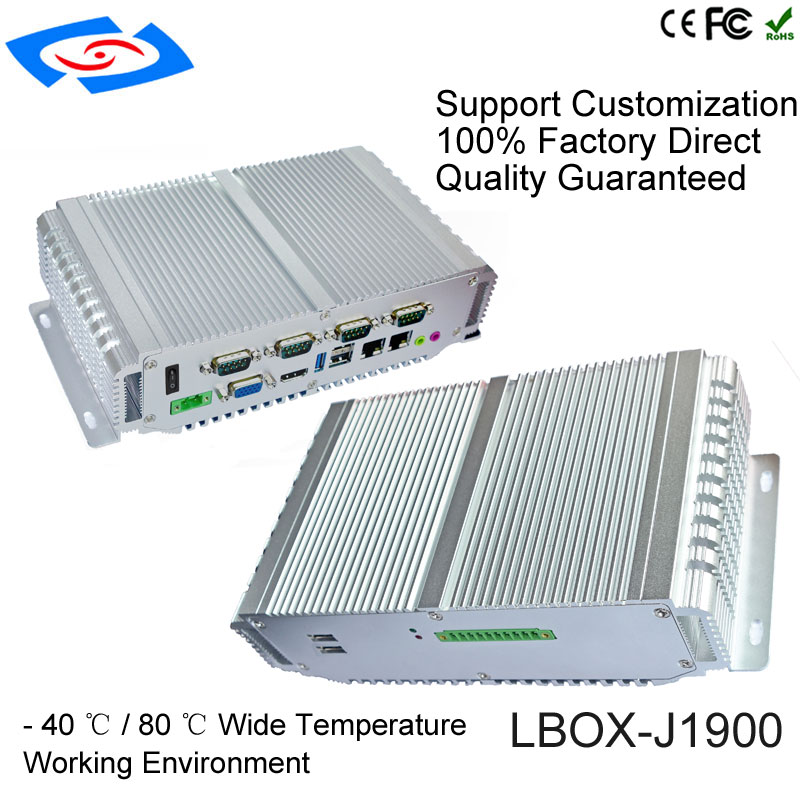 2018 New Version Fanless Mini PC Industrial Computer With 1xVGA 1xHDMI Display 4xCOM Support RS232 485