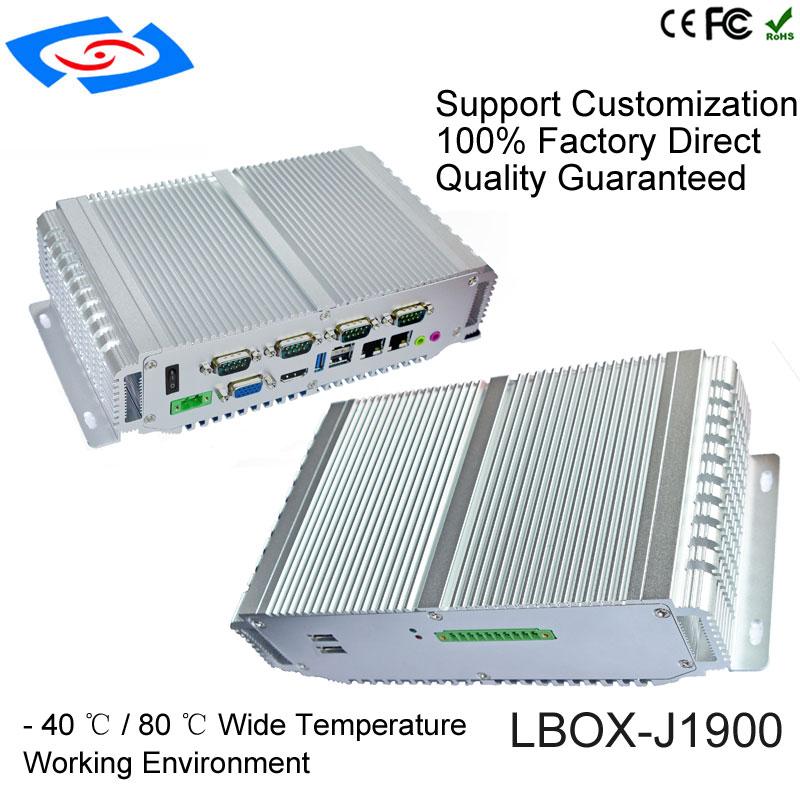 2018 Nuova Versione Fanless Mini Computer PC Industriale Con 1 xVGA 1 xHDMI Display 4 xCOM Supporto RS232/485 /422