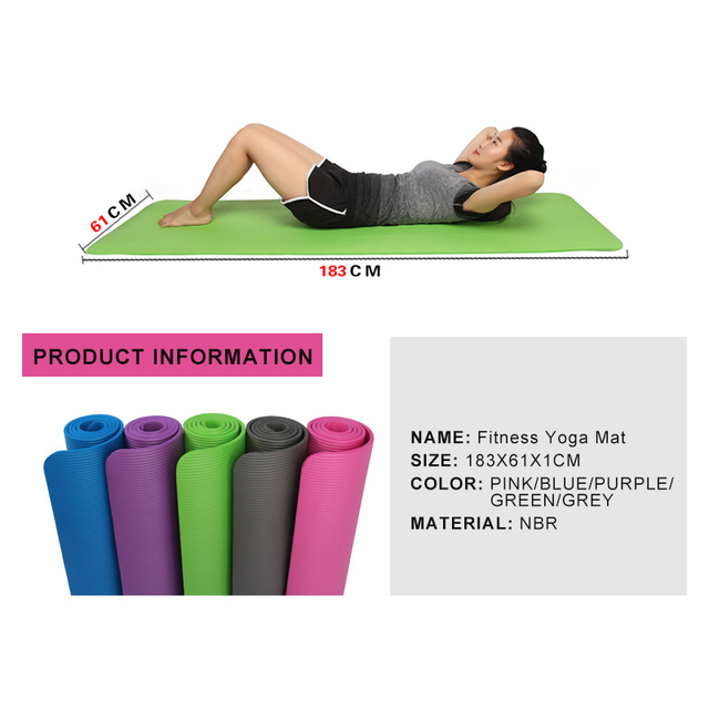 High Quality Multifunctional Yoga Mats NBR Sling Strap Elastic slip Fitness equipment Gym Belt for Sports Exercise 10MM 183*61CM