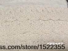 Exquisite Embroidery Mesh Lace Beige Cotton Fabric Accessories 6cm Wide