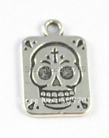 270 шт. тибетские серебряные квадратных черепа прелести A15761