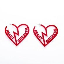 Red Hollow Geometric Heart Stud Earrings Women Fashion Acrylic Jewelry Accessories