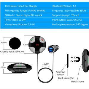 Image 5 - DC 12V 24V Bluetooth 4.2 Handsfree Wireless Car FM Transmitter Micro SD/TF Card MP3 Player & Dual USB Charging Kit