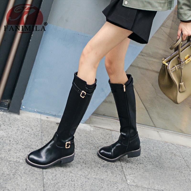 32 De Para Oficina Fanimila Planas Rodilla Botas Zapatos Con Cálida Negro Mujer marrón Moda Metal Piel Invierno 43 Hebilla Clásica Tamaño XTUUS1q5
