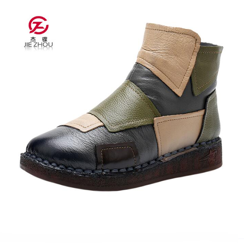 Fashion Genuine Leather Ankle Boots Ladies Casual Warm Comfortable Flat Winter Boots Women Handmade Mixed Colors