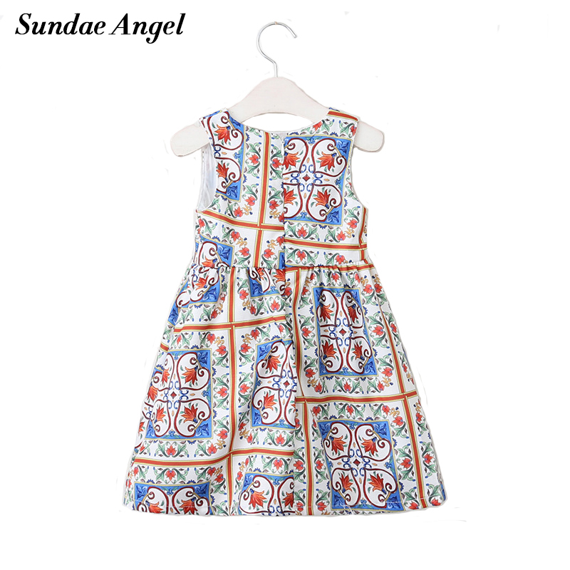 Sundae Angel Girls Dress 2018 Brand Summer Girls Clothes O-neck Lily Print Design for Children Clothing 3-8 Y Princess Dresses ladybird appliques dress wholesale clothing for girls princess baby boutique o neck clothes children polka dot dresses 6pcs lot