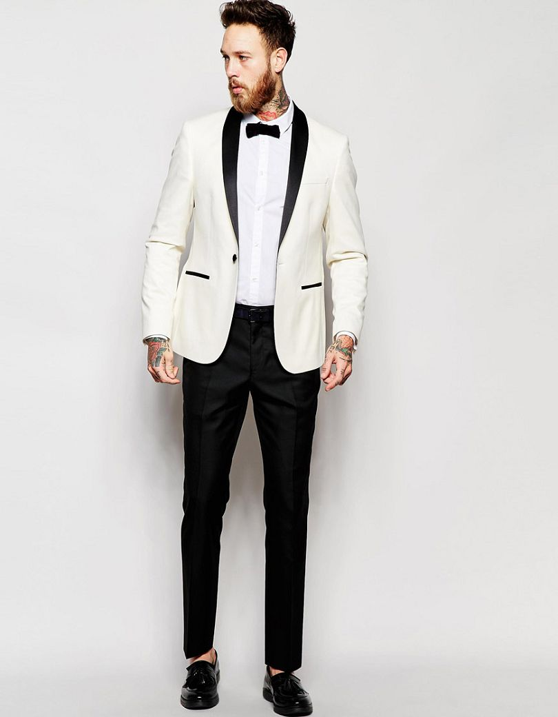 Bien-aimé 2017 Slim Fit Smoking Costume Blanc Veste Noir Pantalon Homme  QN53