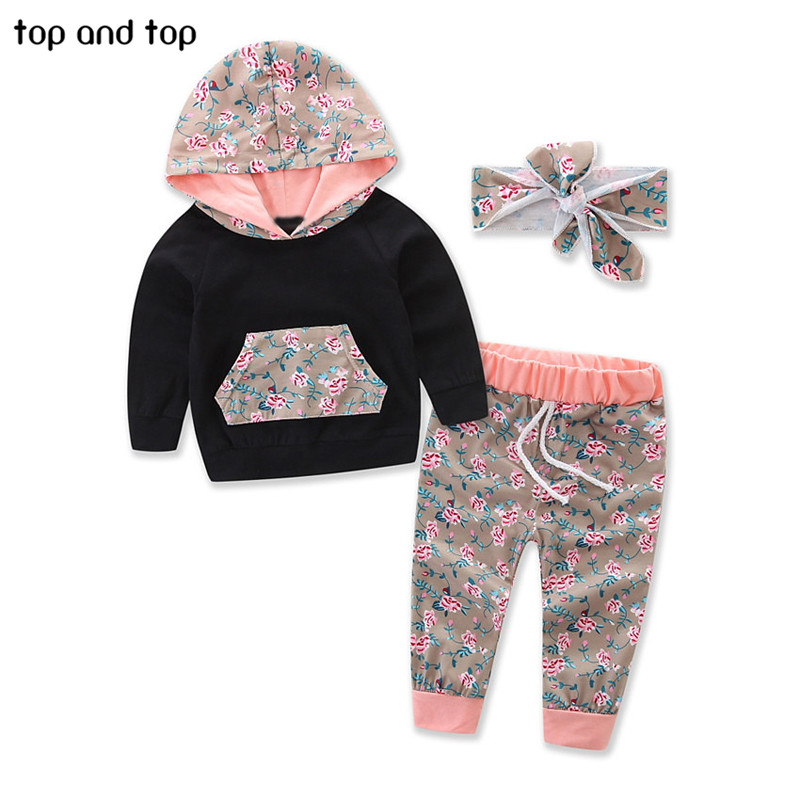 Clothing-Sets Headband Newbron-Girls Baby Tops Hooded Floral 3pcs-Set Pants Sports