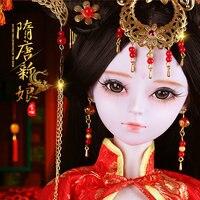 Ручной работы Bjd 1/3 куклы династии Тан Невеста 23 совместных шарнирная кукла красный китайский куклы девушки игрушки детский день рождения п