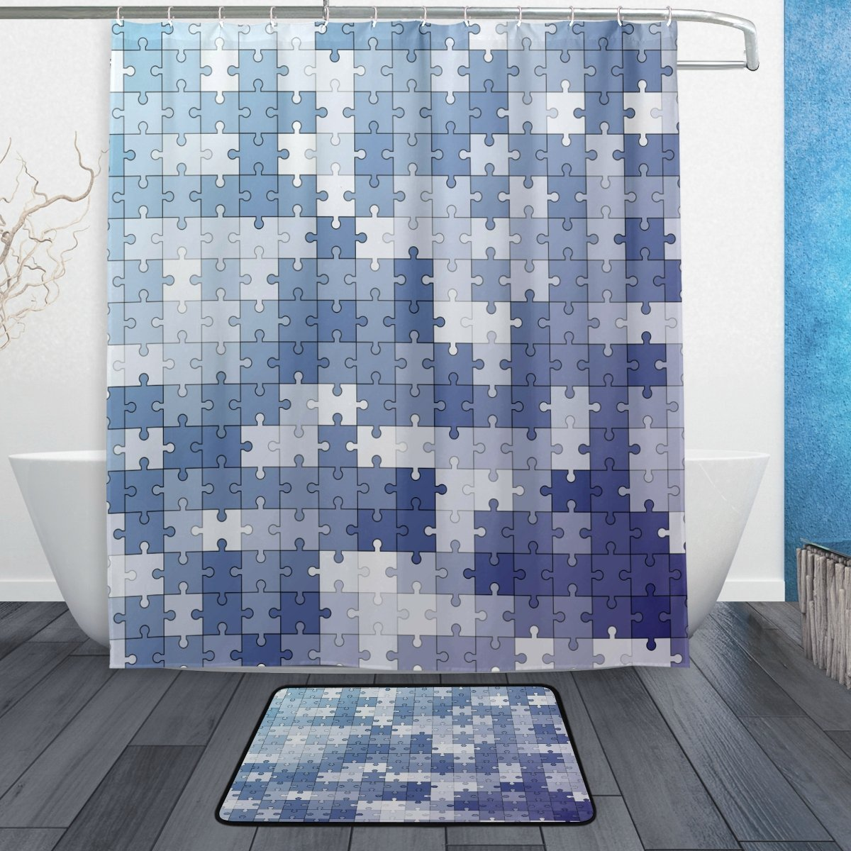Marine Blue Abstract Puzzle Waterproof Polyester Fabric Shower Curtain with Hooks Doormat Bath Floor Mat Bathroom Home Decor