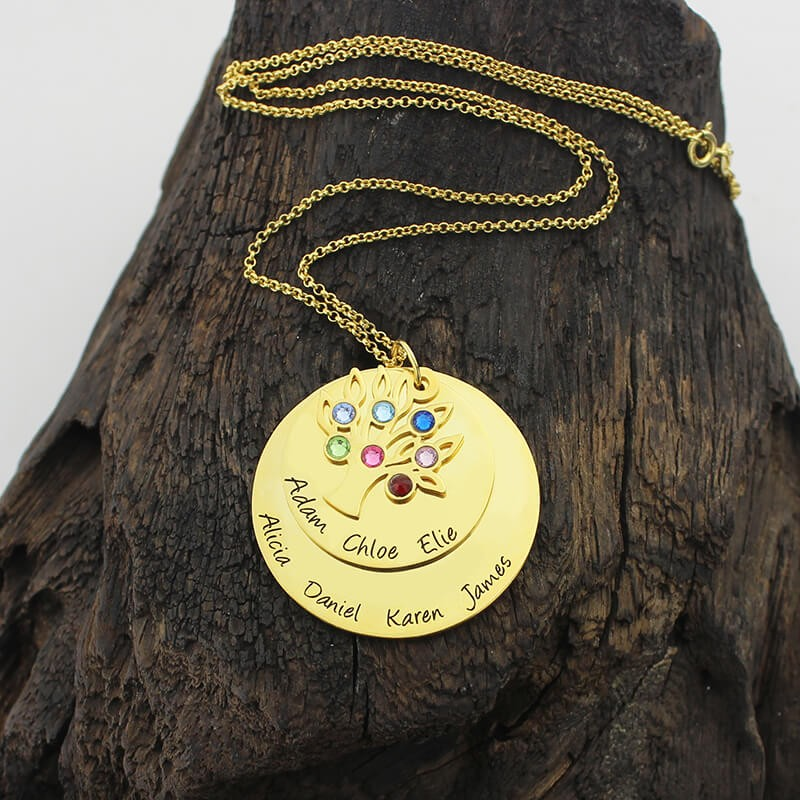 Jewellery & Watches Custom Name Necklace Family Tree Of Life Necklaces Layered Disc Pendant Birth Stone Chain Rose Gold Collares Gift For Grandma Special Buy