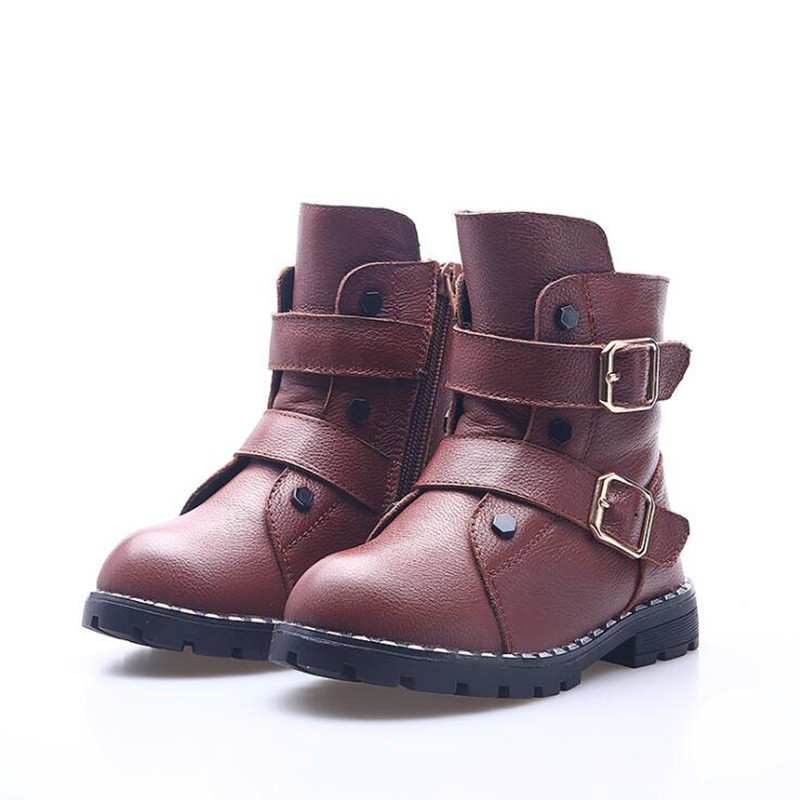 DapChild Winter Children Shoes Boys and Girls Genuine Leather Martin Boots Fashion Zip Snow Boots Russia Winter Warm Baby Shoes fashion winter newborn baby boys shoes warm first walker infants boys antislip boots children s shoes lm57
