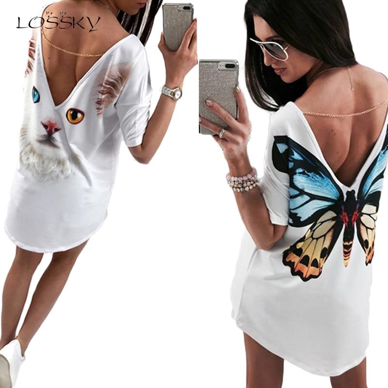 LOSSKY D'été Femmes Robe 2018 Caractère Papillon Imprimer Sexy Profonde V Chasse Épaule Moitié Manches Boho Robes Robes