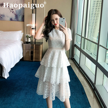 White Casual Lace Dress Summer 2019 Cupcake Style Korean Dresses Ladies Solid Midi Office Work Women Robe Longue Femme