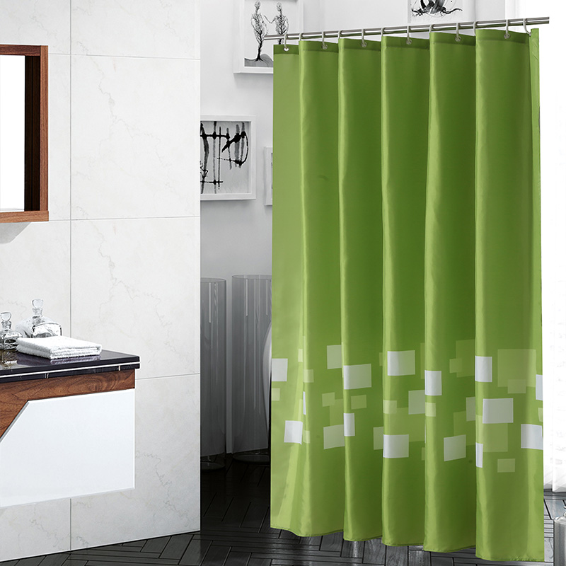 Green Solid Color Bath Tropical Shower Curtain Polyester Fabric Waterproof Eco Friendly Bathroom Cortina De Ducha In Curtains From Home