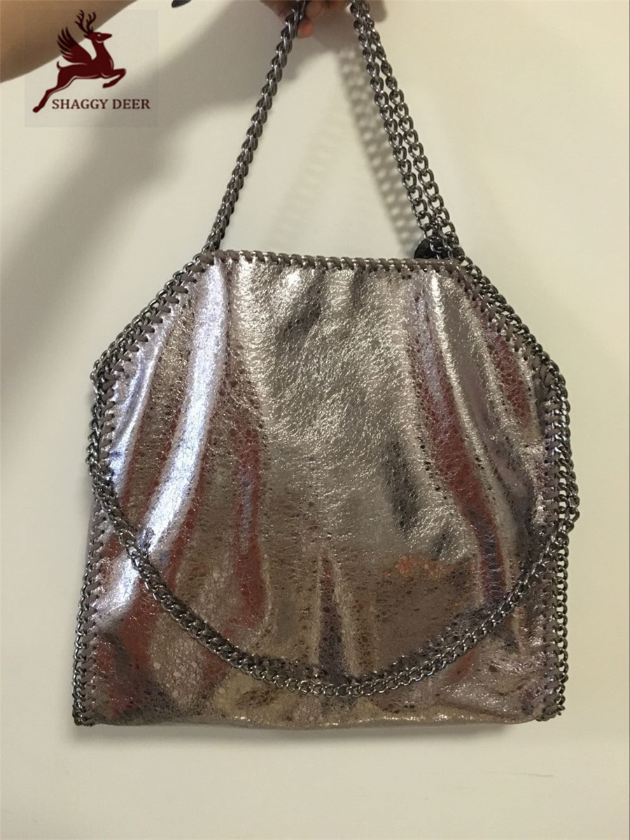 Shaggy Deer Brand Champagne Gold Exclusive PVC Faux Leather High Quality Fold-Over falabella design 3 Chain Tote Ladies Handbag mini gray shaggy deer pvc quilted chain bag with cover real picture