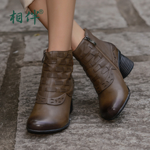 2017 women shoes fashion ankle boots round toe hand woven high heels side zipper boots sheepskin leather
