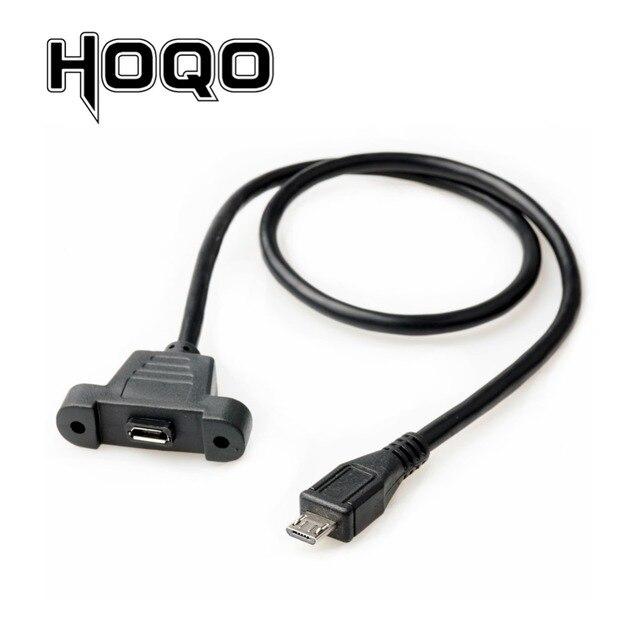 Câble dextension Micro USB mâle à femelle, montage sur panneau, cordon de Charge avec trou de borne à vis