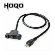 لوحة جبل المصغّر USB موصل تمديد كابل مايكرو USB ذكر إلى أنثى مزامنة تاريخ كابل شاحن مع ثقب محطة المسمار