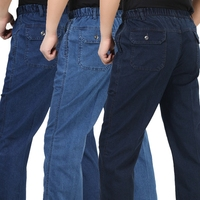 2014 Summer Thin Elastic Pants Quinquagenarian High Waist Jeans 100 Cotton Loose