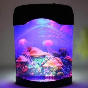 Sea World 3D Jellyfish Fish Tank Multicolor LED Night Light Aquarium Nightlight Festival Home Decor Lights Kids Child Night Lamp
