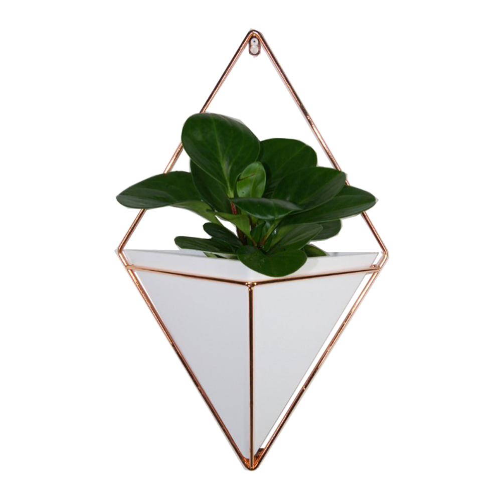 Flower Pots Decorative Geometric Triangle Macrame Wall Hanging Planter For Indoor Metal Pot Ideal For Cactus Succulents Plants