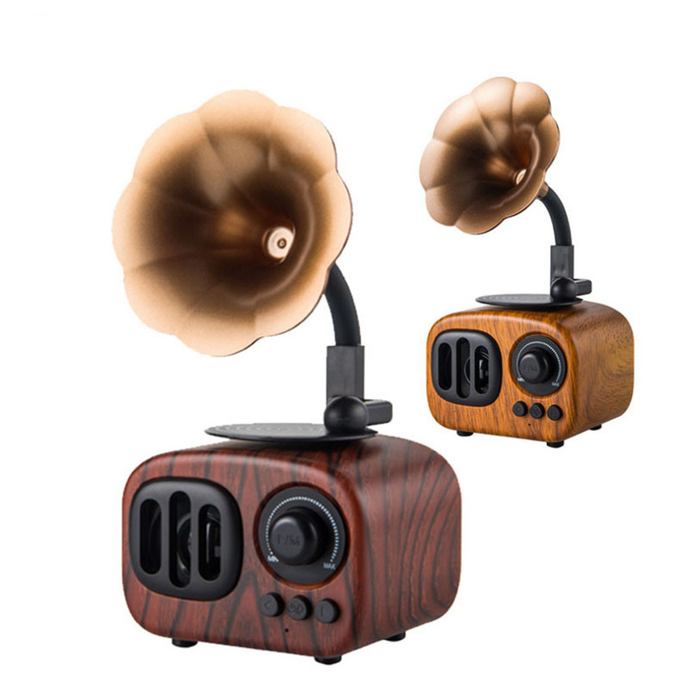 AS90 Vintage Bluetooth Speaker Classic Phonograph Gramophone Shape Design Music Player Support AUX TF Card Wireless Calls