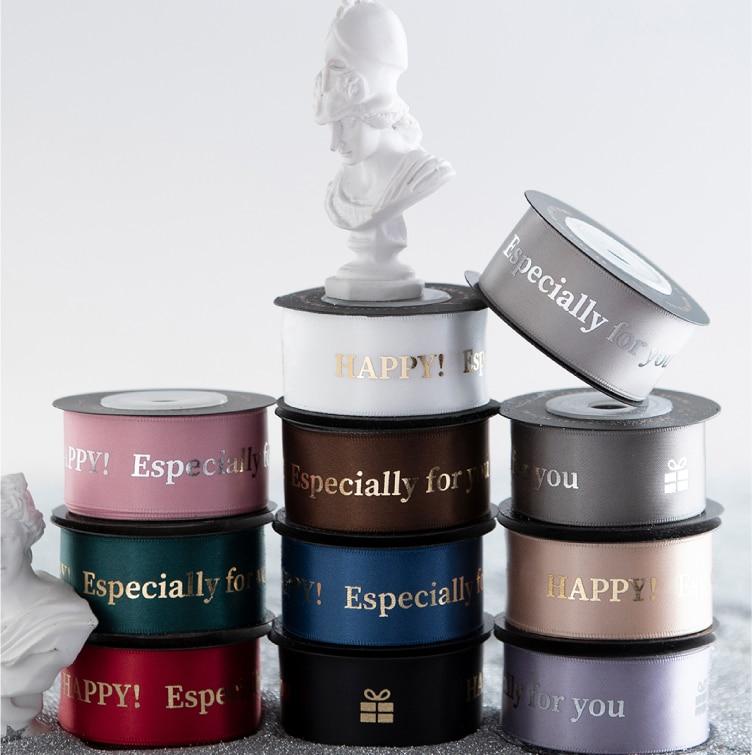 Custom Gold Foil/silver Foil /white  Logo Brand Name Printing Ribbon,gift Packaging Wedding Favor Packing Decoration Ribbon Ties