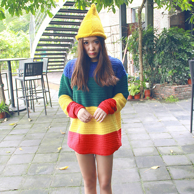 Lychee Girls Rainbow Block Knitted Women Sweater Hit Color Stripe Long Sleeve Casual Loose Oversize Sweaters Winter Pullovers